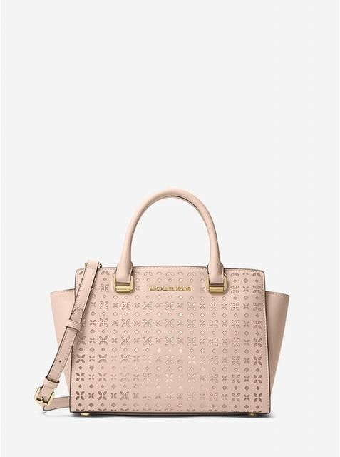 f6cbe919eece NWT Michael Kors Selma Perforated Floral Medium Saffiano Leather Satchel  Pink