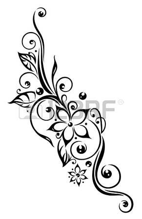 Black Flowers Illustration Tribal Tattoo Style Photo Cherry
