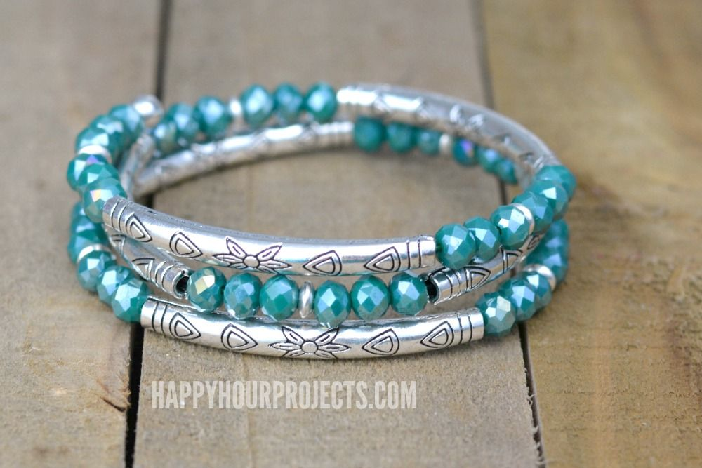Crystal + Tube Bead DIY Memory Wire Bracelet at happyhourprojects ...