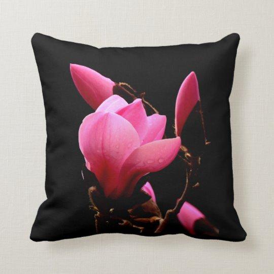 Pink Magnolia On a Black Background Throw Pillow | Zazzle.com #AlexLyubarFineArtPhotography#VancouverCanada#Pillow #ArtForHome #FineAftPrint