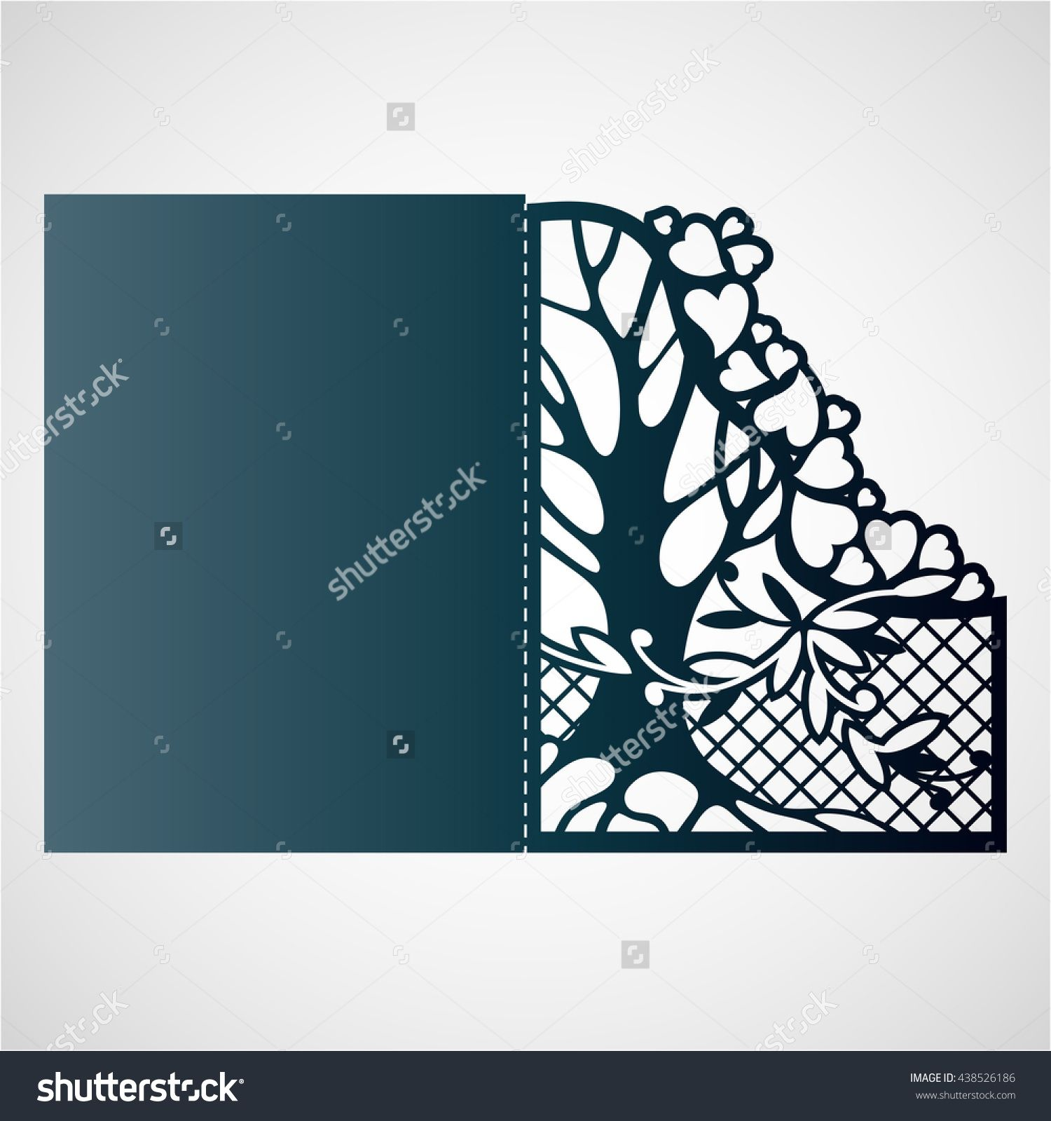 Openwork Card With Tree And Hearts Laser Cutting Template For