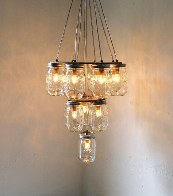 eclectic lighting. DIY W/ Daddy: (Dining Room) 3 Tier Upside Down Wedding Cake Mason Jar Chandelier - Lighting Handcrafted Upcycled BootsNGus Hanging Pendant Light Eclectic L