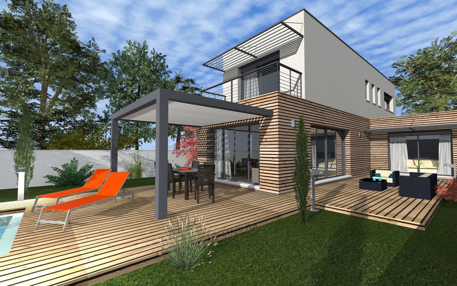 Maison moderne bardage bois et toit terrasse   Container Home ...