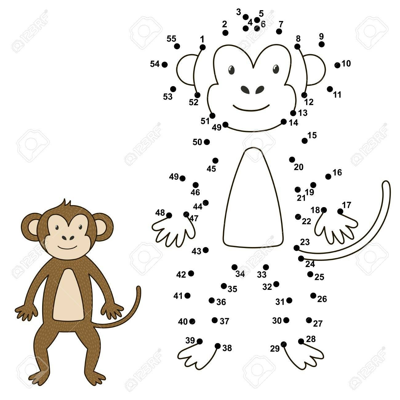 Connect Dots Connect The Numbers Monkey