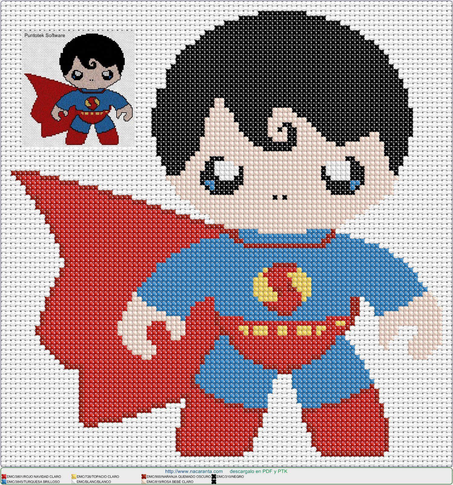 cute superman EN PUNTO DE CRUZ Cross stitch pattern