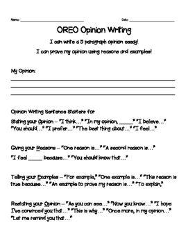 Oreo Opinion Writing 5 Paragraph Organizer And Rubric Writing Organization Opinion Writing Organizer Opinion Writing