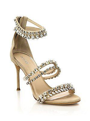 Roberto Cavalli Crystal-Embellished Suede Sandals