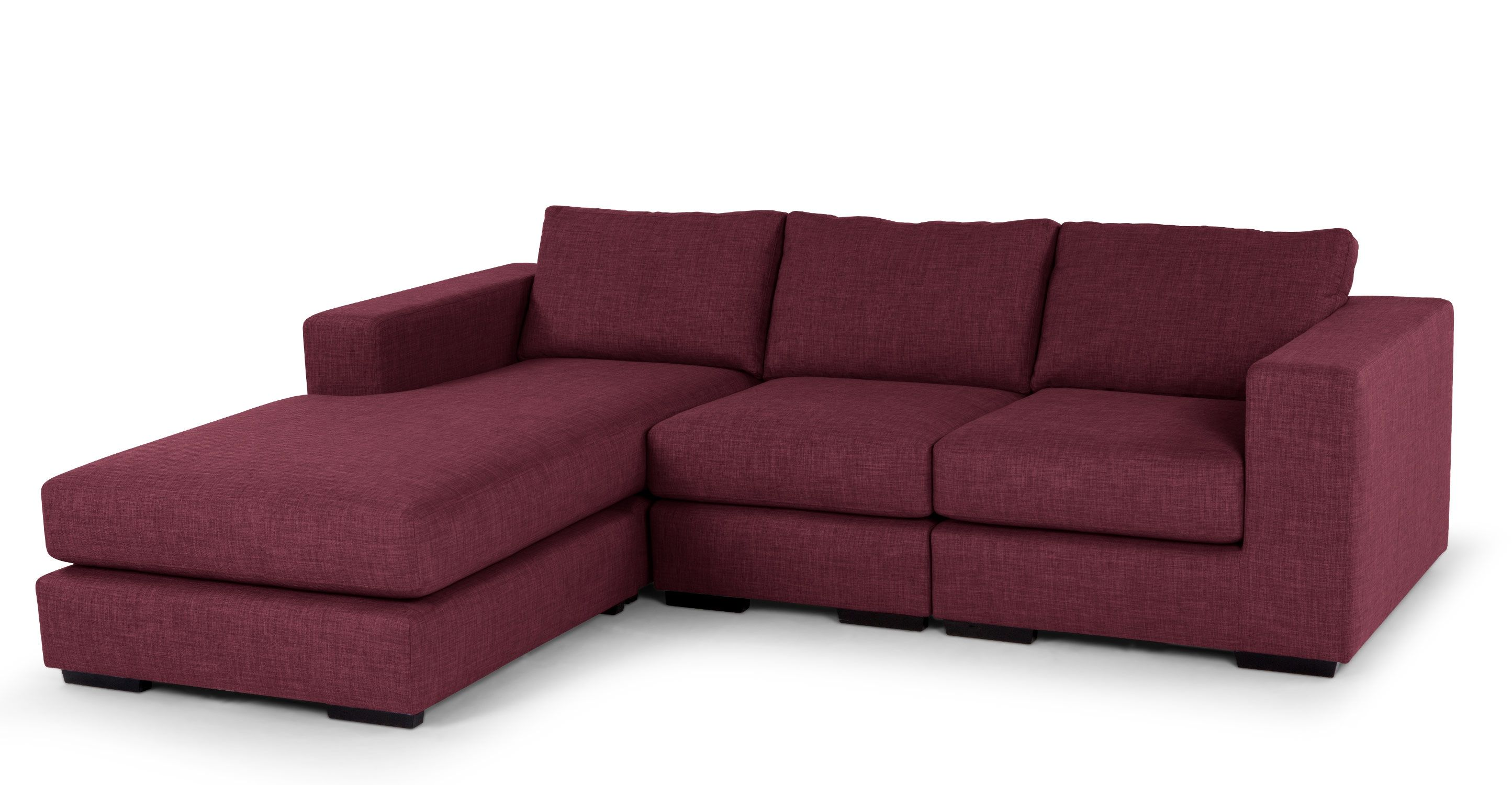 Mortimer 4 Seater Modular Corner Sofa Shadow Wine Red