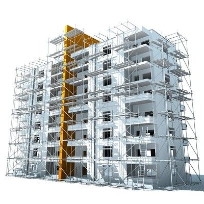 Detailed 3d model of a building under construction ...