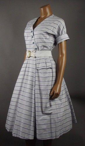 Dress Original Horrockses Vintage 1950s Blue Cotton Stripe Amazing lK3FcJT1