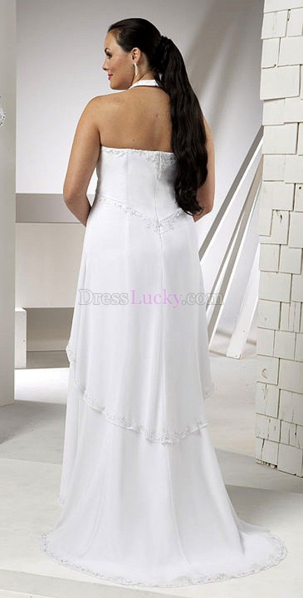 White Plus Size Halter Church Chiffon Wedding Dresses With Split