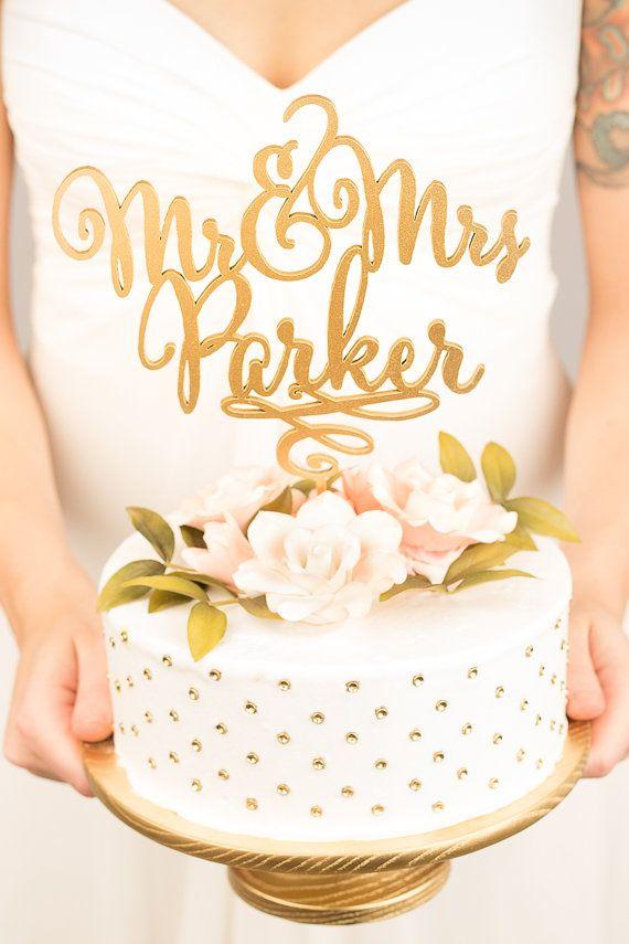 Gold Mr Mrs Cake Topper - Custom Cake Topper for Wedding Cake - Last ...