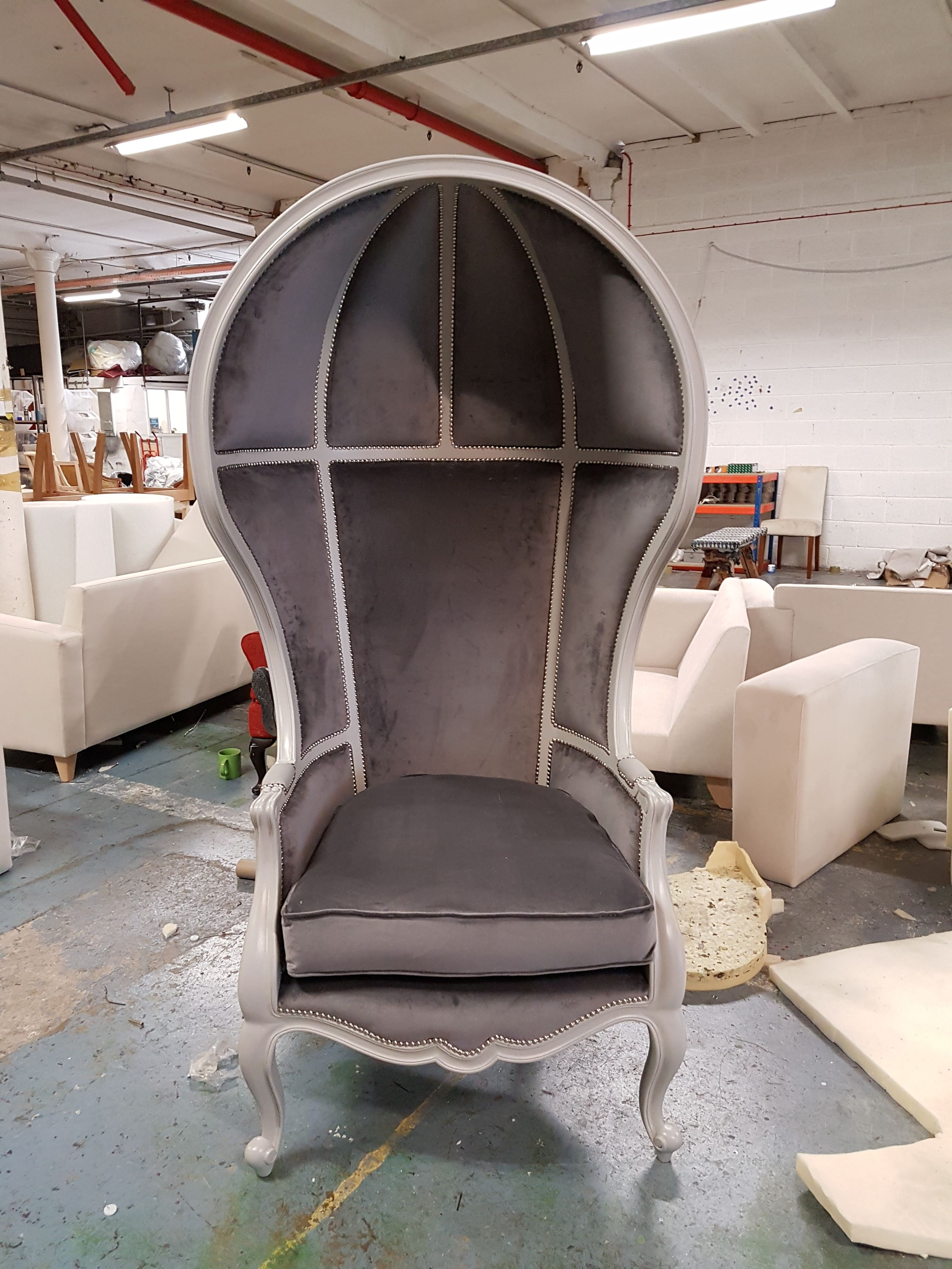 Porters chair painted grey & upholstered with grey velvet on the