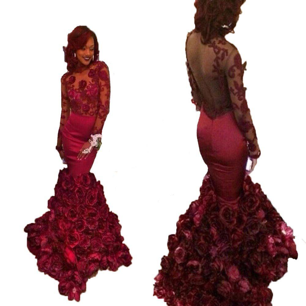 Queenbridal burgundy mermaid ruffles long sleeve plus size women