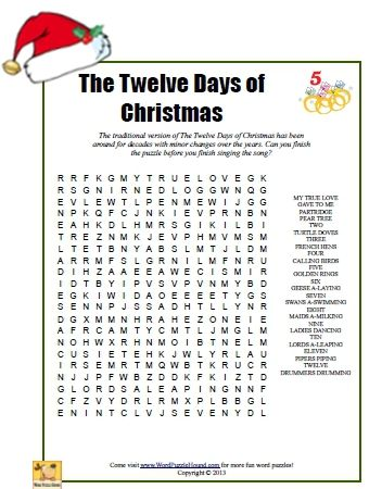 image regarding Words to 12 Days of Christmas Printable referred to as The 12 Times of Xmas Term Look Puzzle - printable