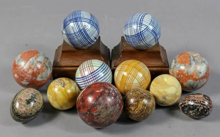 Carpet Balls And Stone Spheres Hayloft Auctions Carpet Bowls Contemporary Bowls Leather Tub Chairs