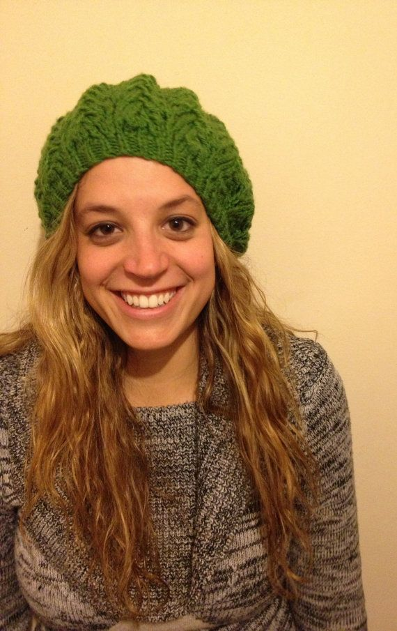 Green Knitted Lace Slouchy Beret by SongKnitter on Etsy, $17.00