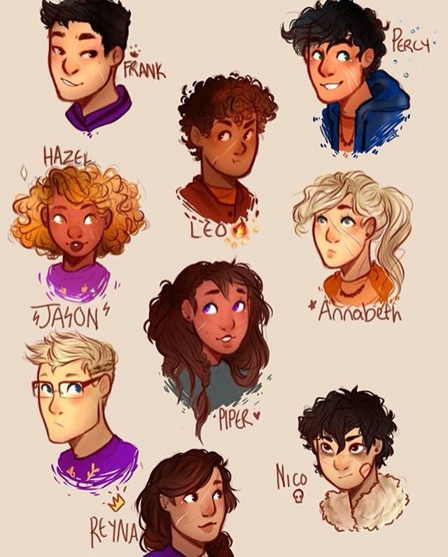 Percy Jackson, Nico Di Angelo, Hazel Levesque, Frank Zhang, Annabeth Chase, Piper McLean, Jason Grace, Leo Valdez, and Reyna<< THEYVE ACTUALLY GOT SCARS GOD BLESS