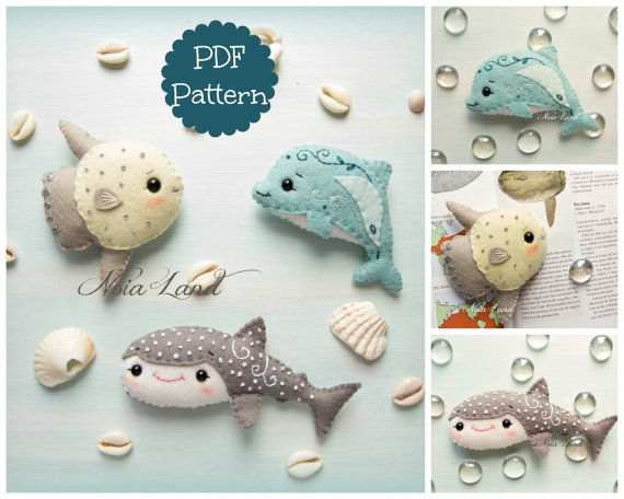 Sea life 2: Shark Whale, Sunfish and Dolphin (PDF Pattern) #instructionstodollpatterns