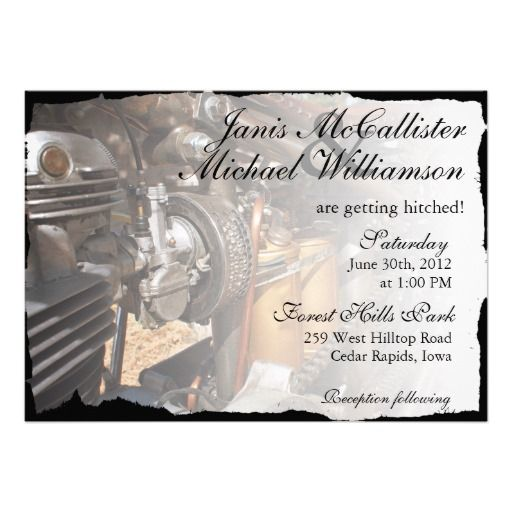 Custom Motorcycle Biker Wedding Invitation