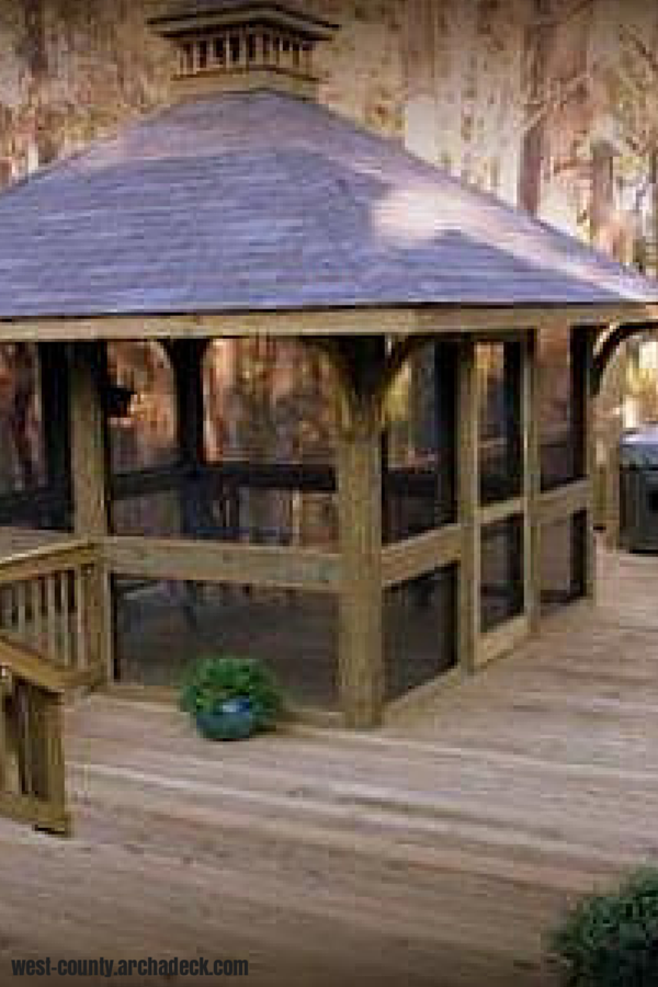 Wood Deck With Square Screened Gazebo And Hot Tub West County