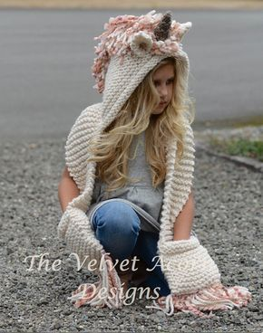 Photo of Knitting PATTERN-The Unice Unicorn Hooded Scarf (12/18 months, Toddler, Child, Teen, Adult sizes)