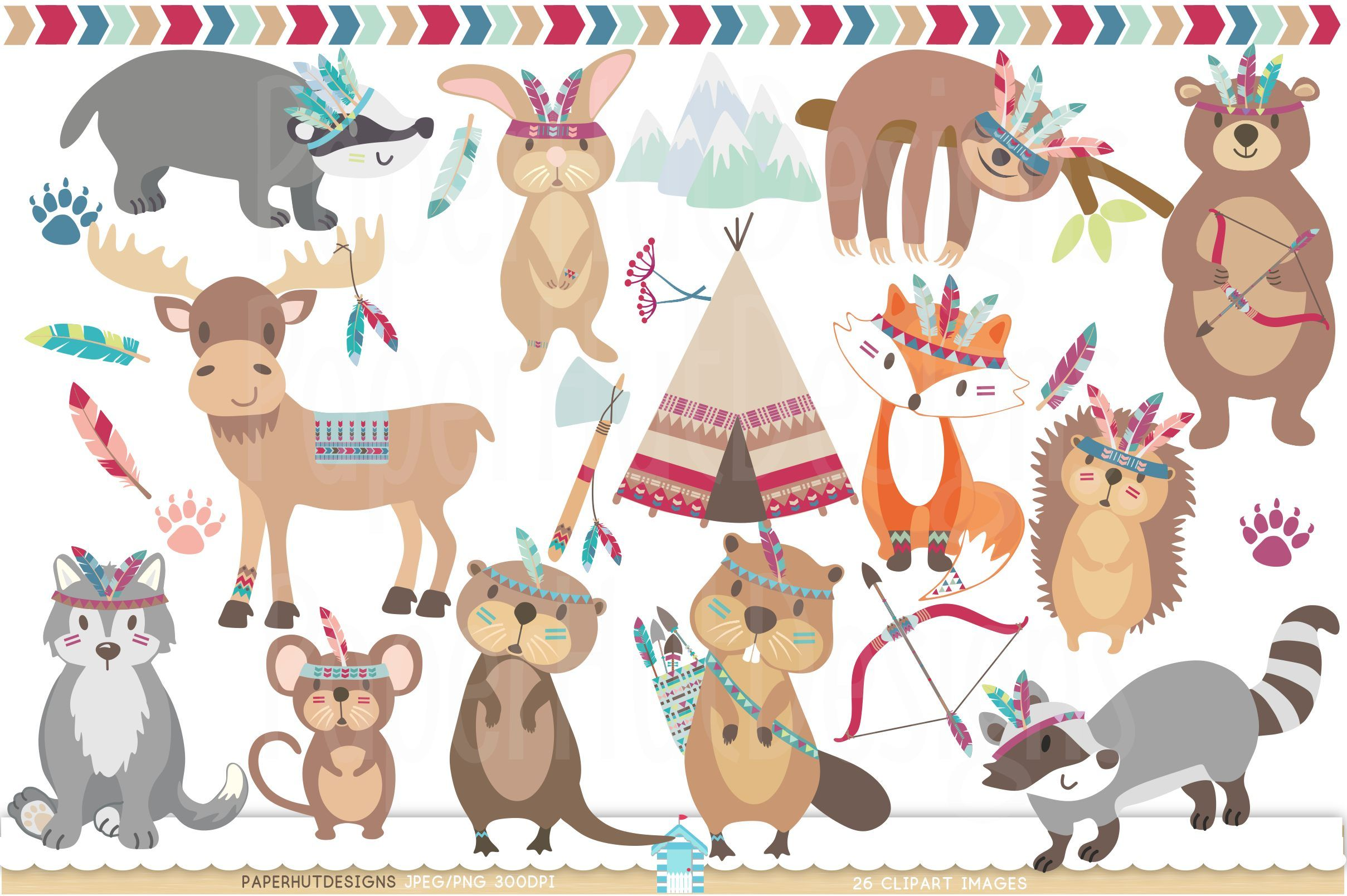 Woodland Forest Animals Clipart Rock art