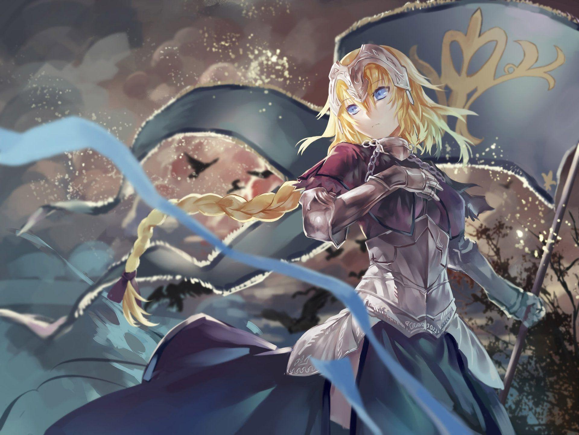 Anime Fate Apocrypha Ruler Armor Girl Blonde Long Hair Braid Woman Warrior Blue Eyes Banner Grand Order Jeanne DArc Wallpaper
