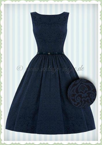 849338322cdd8 Lindy Bop 50er Jahre Vintage Brocade Petticoat Kleid - Audrey - Navy ...