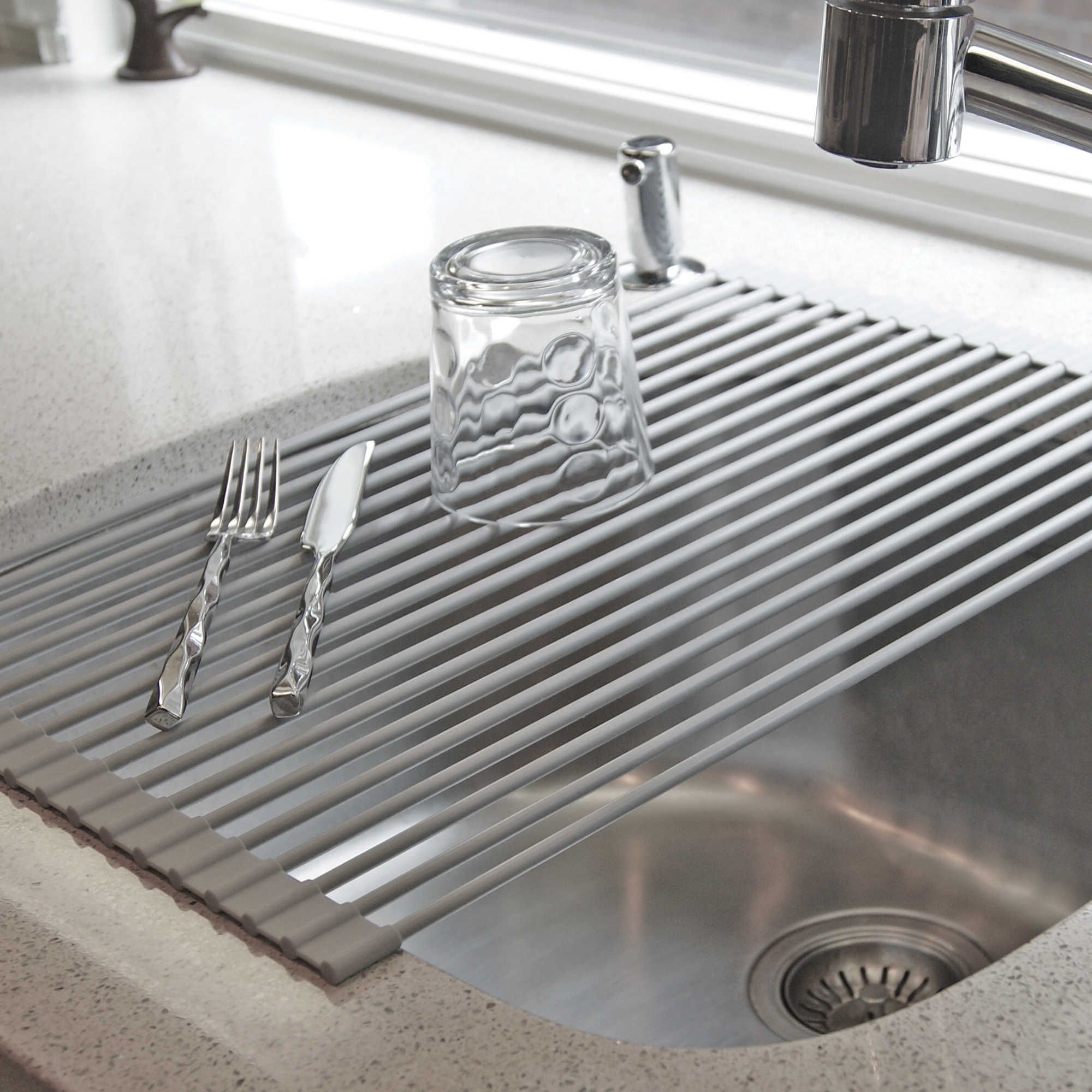 Apartment Kitchen Sink Backing Up: Over-the-Sink Roll-Up Drying Rack