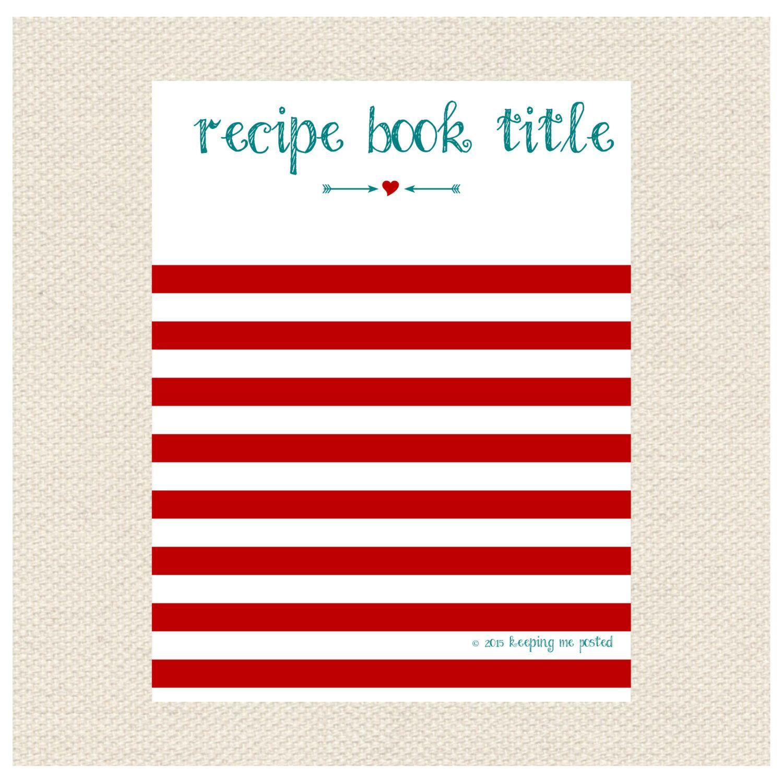 Stripes Arrow Recipe Binder Printable Kit Editable DIY Recipe