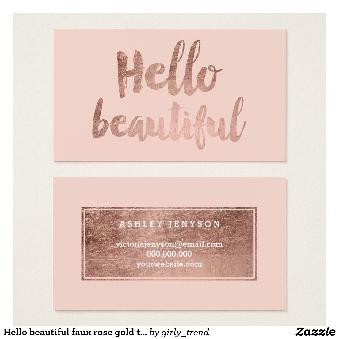 Hello Beautiful Faux Rose Gold Typography Blush Business Card