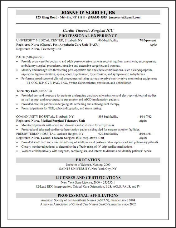 Cicu Registered Nurse Resume  Work Related