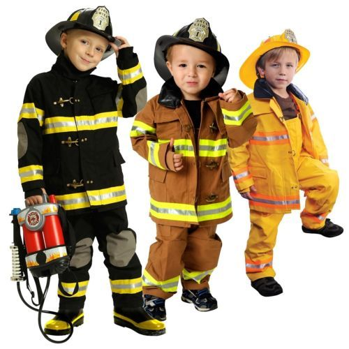 Fireman Costume Kids Fire Fighter Halloween Jr Firefighter Fancy
