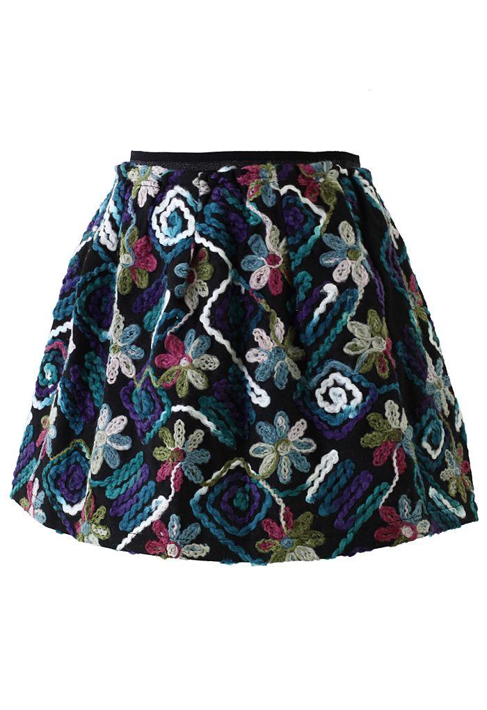 3D Floral Embossment Skirt