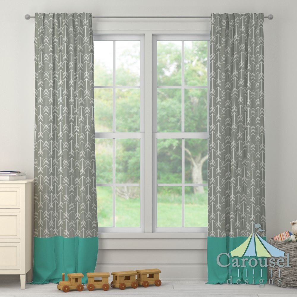 Custom drapes in Gray Arrow, Solid Emerald Turquoise.  Created using the Drape Designer by Carousel Designs