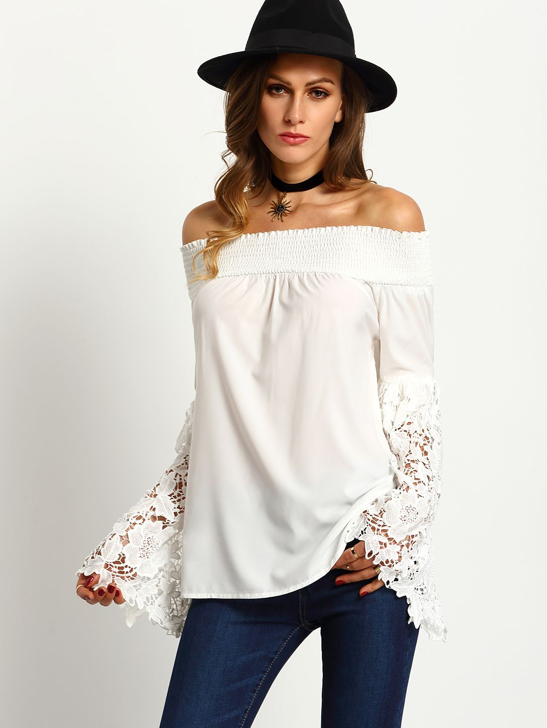 120a62a85c3a7 Online shopping for White Off The Shoulder Lace Embroidered Sleeve Blouse  from a great selection of women s fashion clothing   more at MakeMeChic.COM.