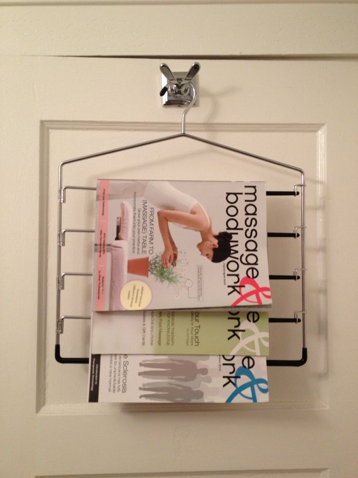 Creative DIY Magazine Racks • A round-up of Awesome Ideas and Tutorials! Including this magazine rack repurposed from a old pants hanger.