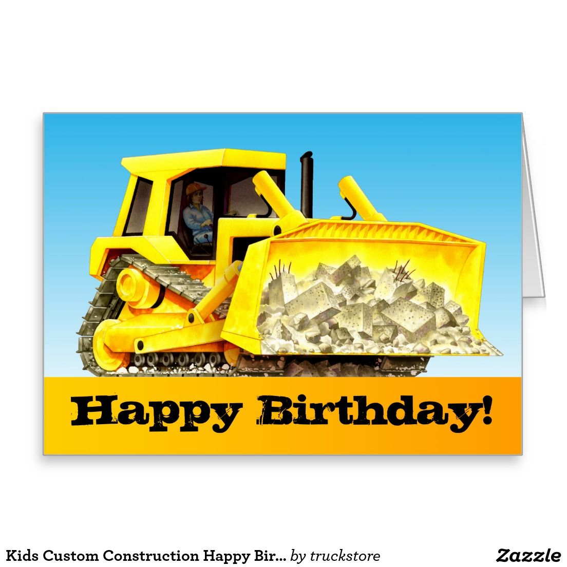 Kids Custom Construction Happy Birthday Bulldozer Card Happy
