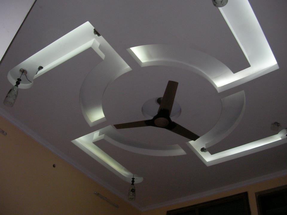 Bedroom False Ceiling Design Indian Swastik White Leds