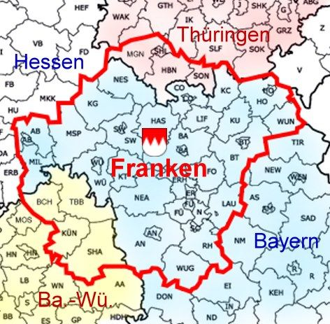 Franken Karte Deutschland Germany Ku Kulmbach District Smaller