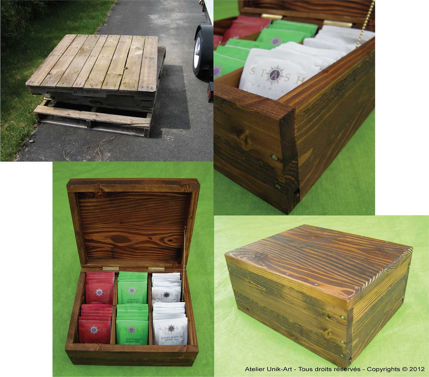 Eco Friendly Tea Chest Made Out Salvaged Wood From Pallets