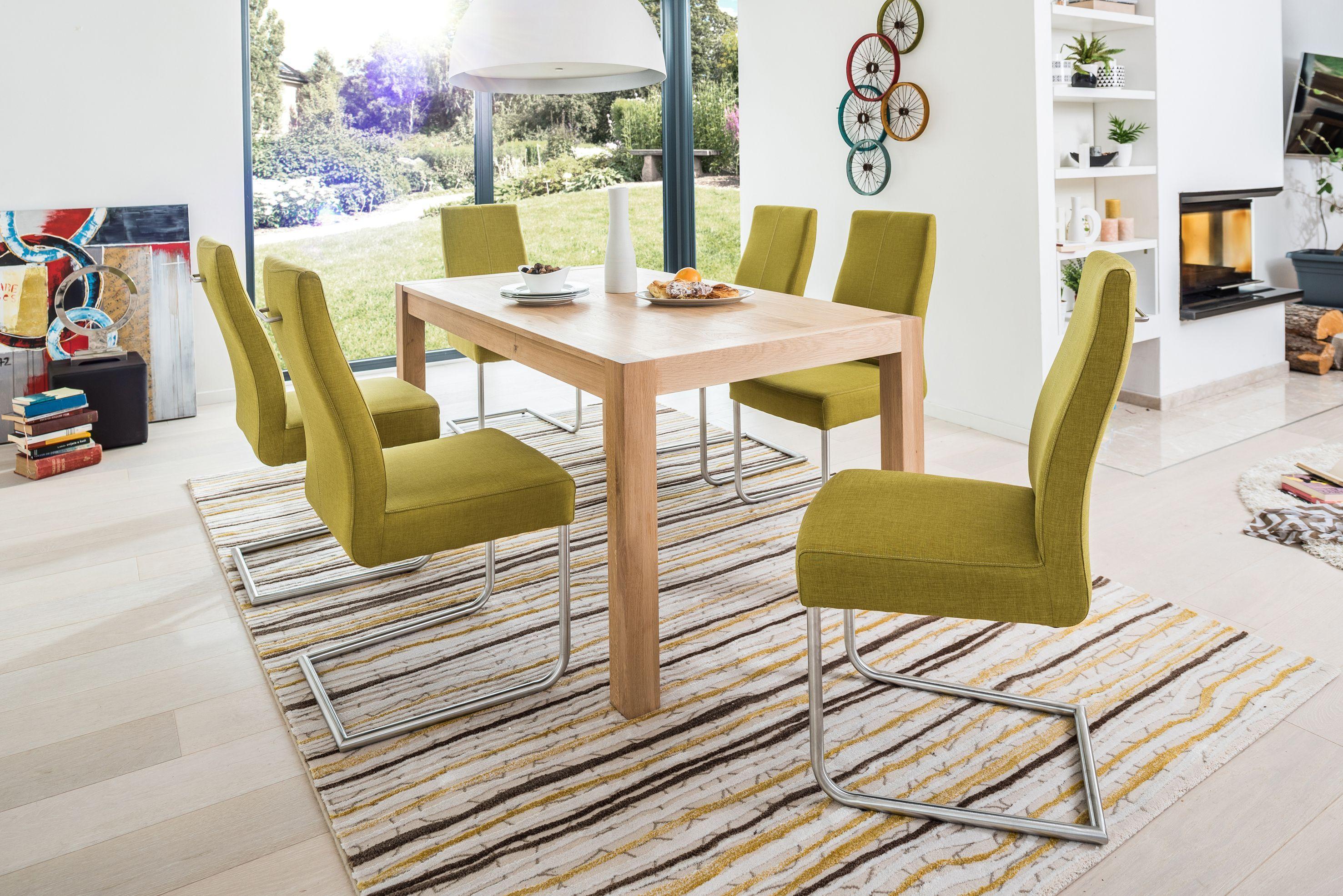 Esstischgruppe Mit Tisch 160 (295) X 90 Eiche Bianco Und 6 Freischwinger  Webstoff Lemon Woody 114 00348 Holz Modern Jetzt Bestellen Unter: ...