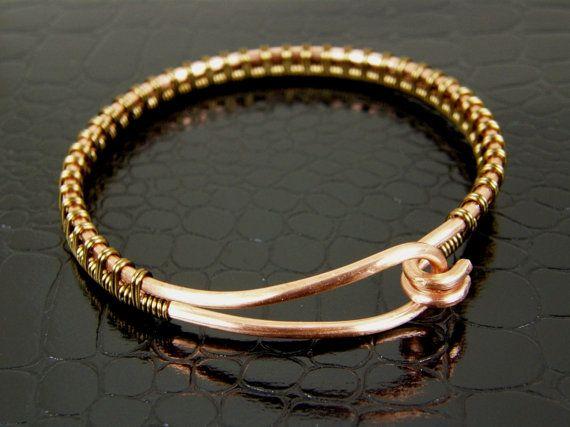Copper Wire Bangle Bracelet Wire Wrapped in Brass   Draht umwickeln ...