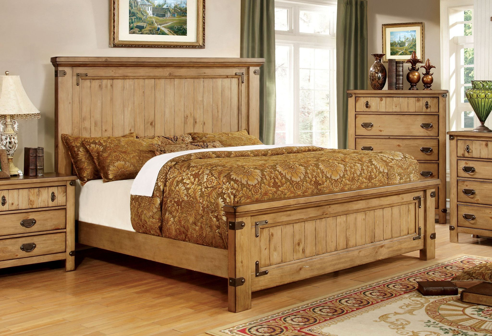 mallon country style plank cal king bed in weathered elm king beds