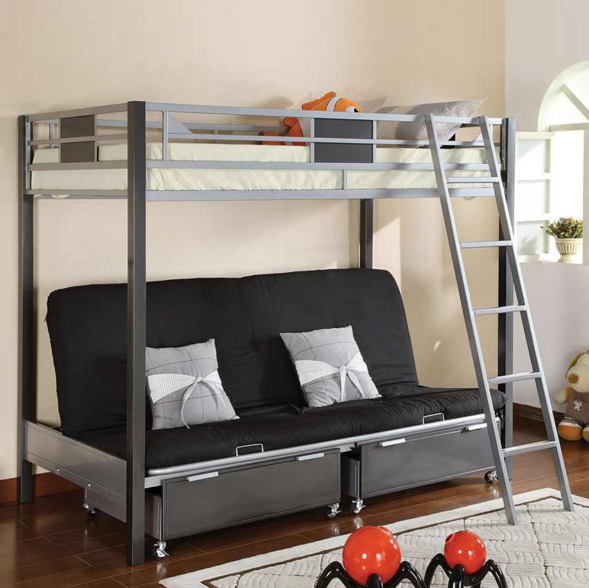 Shop Furniture of America Cletis Youth Twin over Futon Bunk Bed with