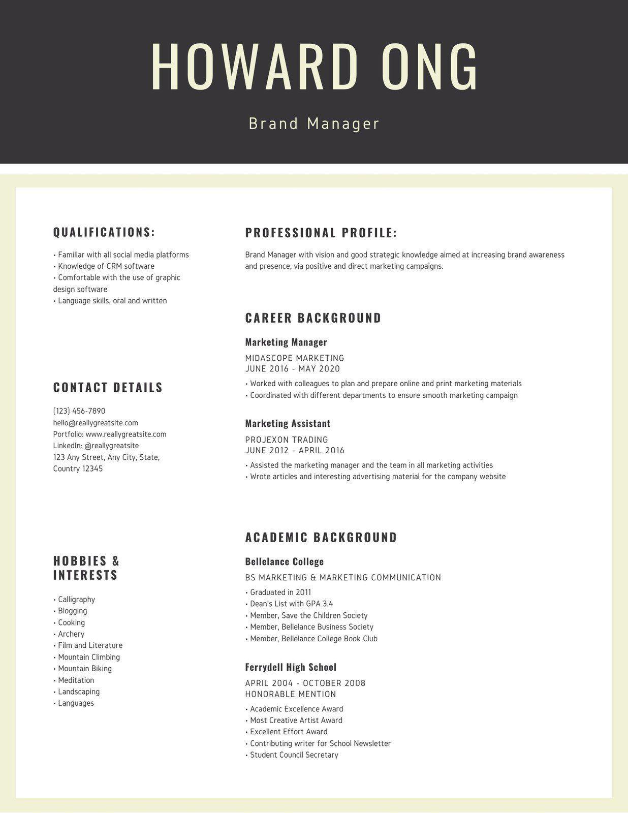 Cream Grey Marketing Professional Corporate Resume