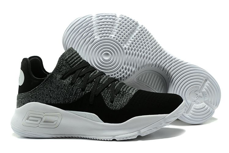 """614df0fc377e Under Armour Curry 4 Low """"Oreo"""" Black White Basketball Shoes"""