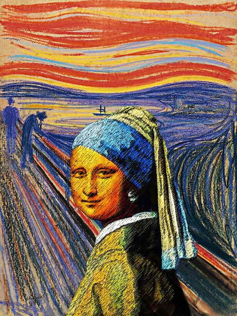 Mona Lisa With A Pearl Earring In Norway La Gioconda Con L Orecchino Di Perla In Norvegia Art Parody Appropriation Art Scream Art