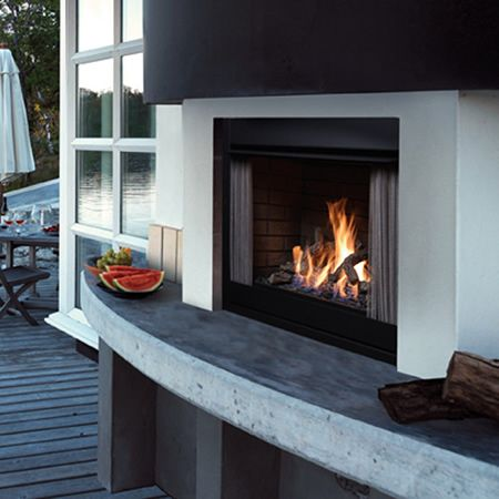 kingsman zero clearance outdoor fireplace satin black